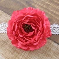 Fuchsia Ranunculus Flower Lace Headband or Clip Hair Accessories Baby Toddler Adult