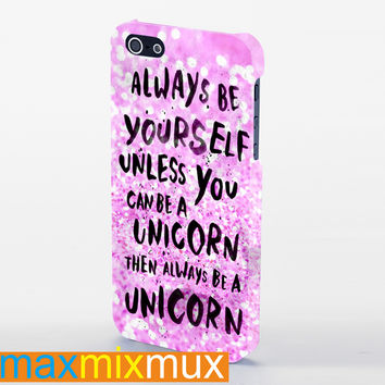 Galaxy Unicorn Quote On Pink Glitter iPhone 4/4S, 5/5S, 5C Series Full Wrap Case