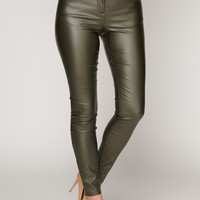 Do What You Want Faux Leather Pants (Olive)