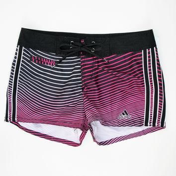 Adidas Women's Pink & Black Ombre Striped Board Shorts XS