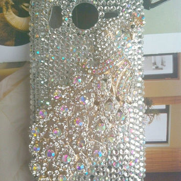 HTC Desire HD htc Inspire 4G G10 A9191  Fashional Bling Charms Phone Case Cover Skin: Rhinestone Crystal  Luxury Shining Peacock