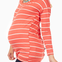 Coral White Striped Button Back Maternity Top