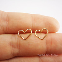 14k gold filled, heart stud earrings