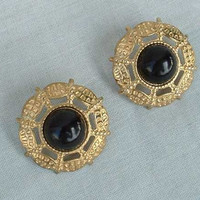 Openwork Stamped Post Earrings Black Cabochon Vintage Jewelry