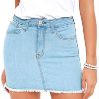 Pop and Lock Light Wash Denim Mini Skirt