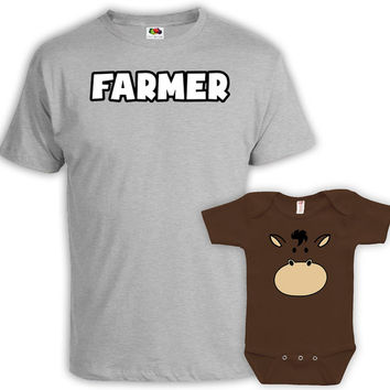 Father Son Matching Shirts Father And Daughter Shirt Matching Family Shirts Gifts For New Dad T Shirt Farmer And Horse Bodysuit MAT-736-739