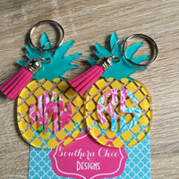 Pineapple monogram keychain- Lilly p inspired monogram