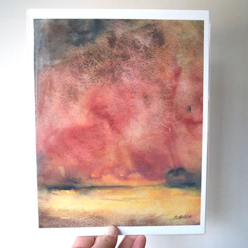 Abstract Watercolor Painting Landscape Autumn Fine Art 8x10 Giclee Print
