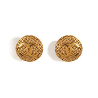 Chanel Vintage Jewelry - Gold-Plated Weave Round Clip Earrings