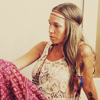 Handmade Brown Leather Hippie Feather Headband, Tie Headband, Wear It Many Different Ways
