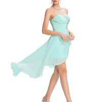 Evening Dress 2016 Sexy Strapless High Low Ruched Beaded Sequin Pale Turquoise Formal Dress Abendkleider Evening Dresses Long - BRIDESMAID DRESSES BRIDAL GOWNS PROM