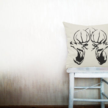 Deer pillow decorative throw pillow cover beige cotton toss pillow case cover hand painted cushion rustic bedding bedroom set 18x18 inches