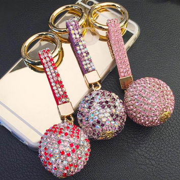 Strass Rhinestone High Quality Leather Strap Crystal Ball Car Keychain Key Chain Charm Pendant Key Ring For Women Porte Clef f20