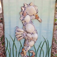 Seahorse Art- Mixed Media Wall hanging- Blue and Green- Original Beach Decor- 11X17 inches
