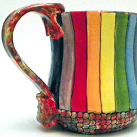 Ceramic Mug Rainbow Striped Roy G Biv Made to Order