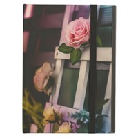 Vintage Pink Rose on White Wood Frame iPad Air Cover