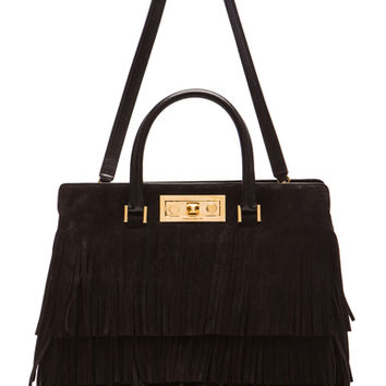 Saint Laurent | Medium Trois Clous Fringe Tote in Black www.fwrd.com