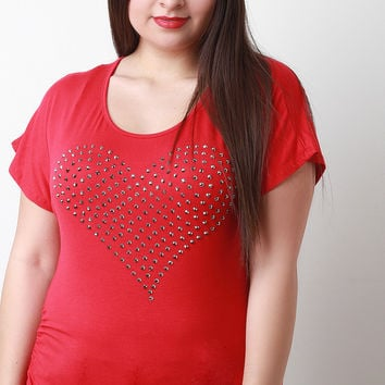 Rhinestone Embellished Heart Side Cinched Top