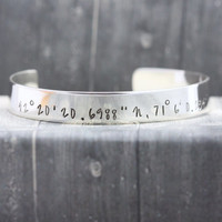 Sterling Silver hand stamped bracelet cuff, hand engraved bracelet, personalized jewelry, cuff, compass coordinate bracelet