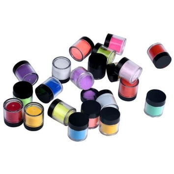 2017 Hot sale women 18 Colors Acrylic Nail Art Tips UV Gel Powder Dust Design 3D Manicure Beauty Nail art decorations Maquiagem
