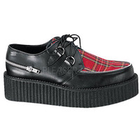 Demonia Red Plaid Leather Two Inch Creeper