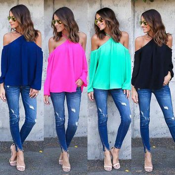 DCCKVQ8 Women Solid Color Fashion Halter Strapless Long Sleeve Chiffon Shirt Tops