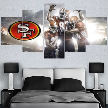 Rugby ball Logo Paintings San Francisco 49ers Modern Home Decor Living Room Bedroom Wall Art Canvas Print Painting Calligraphy