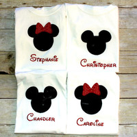 4 piece Combo set Custom Made to order Personalized Mickey or Minnie Mouse Shirt  You pick colors  GRAND OPENING SALe FREE sHIPPPING