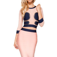'Luna' Pink and Navy Bandage Two Piece - pastel pink crop top and skirt bodycon set
