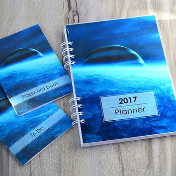 Monthly daily planner 2016 2017 2018 Agenda Galaxy planner set Password book To do list notebook 365 days planner 2017 calendar organizer