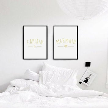 Captain Print, Mermaid Print, Real Gold Foil Print,Bedroom Decor, Wall Art, Wall Decor, Couple Print, Fashion Print, Set Of 2 Bedroom Prints