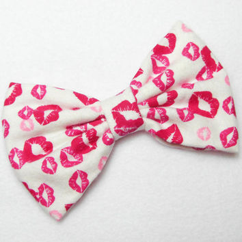 Hair Bow Clip Fabric Hair Bow Hairbow Pink Fabric Bow Lips Kisses Bows for Kids Bows For Women Bows For Teens Bows For Girls Hair bows