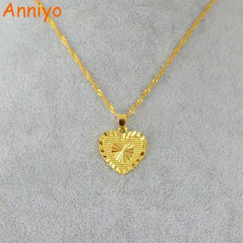 ac NOOW2 Anniyo Heart Pendant and Necklaces Romantic Jewelry Gold Color for Womens,Wedding gift,Girlfriend Wife Gifts