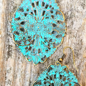 Vintage styled teal and brass earrings