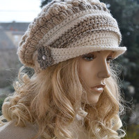 Beige cream gray  Crocheted  PEAKED CAP beanie Slouchy Winter Fashion , very warm,women hat,Girls Hat,unique gifts