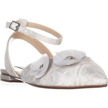 Blue by Betsey Johnson Willa Pointed Toe Flats, Ivory, 7.5 US