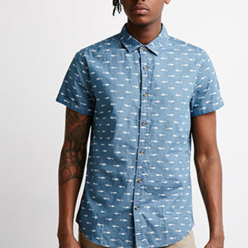 Shark Print Chambray Shirt