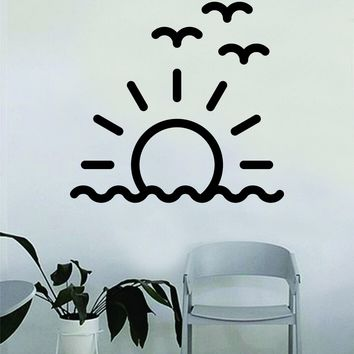 Sunset Sunrise Wall Decal Sticker Bedroom Home Room Art Vinyl Inspirational Teen Baby Nursery Sun Nature Beautiful Birds