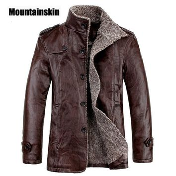 Mountainskin 4XL Winter PU Leather Casual Jackets Men Thermal Coats Male Faux Leather Jackets Warm Brand Clothing SA083