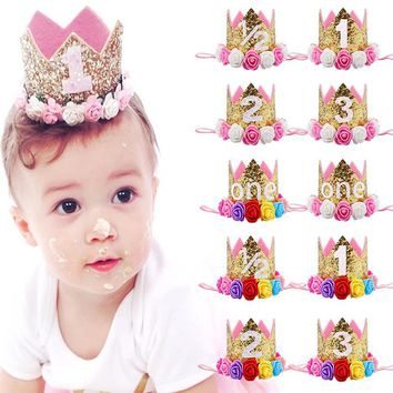 Cool Baby Girl First Birthday Party Hat Decorations Hairband Princess Queen Crown Lace Hair Band Elastic Head Wear Hat Gifts For KidsAT_93_12