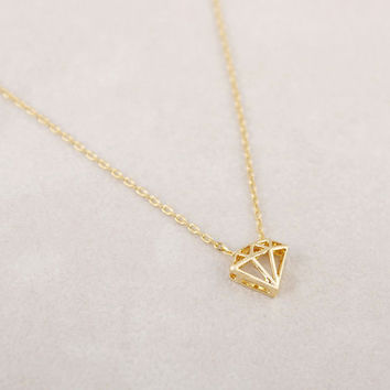 3D Geometric Diamond Shaped Necklace, Minimalist Diamond Shaped Necklace, Abstract Diamond Shape Necklace, Layering Necklace, Gift, Necklace