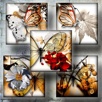 "Mystical Butterflies - 1""x1"" and scrabble tiles - Digital Collage Sheet CG-778S - Printable Images for Jewelry Making, Scrapbooking, Crafts"