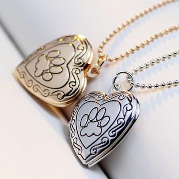 Hot Sales Christmas Gifts Animal Cat Dog Paw Print Photo Frames Can Open Heart Pendants Locket Necklaces Jewelry 10pcs/lot