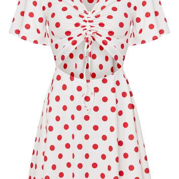 Red Polka Dot Cut Out Ruched Detail Swing Dress