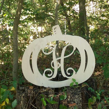 Pumpkin Monogram, Framed Letter, Fall Decor,  Unfinished Monogram, Halloween Door Hanger, Door Monogram, Thanksgiving Monogram