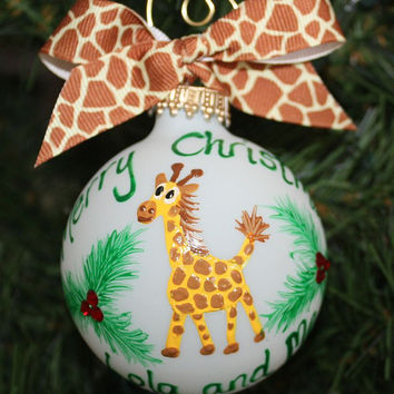 Giraffe Personalized Ornament - Handpainted and Made to Order