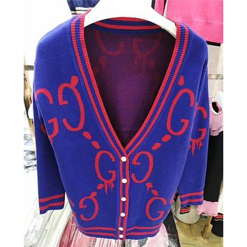GUCCI Knit Women Fashion V-Neck Cardigan Jacket Coat