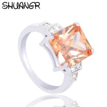 SHUANGR Fashion Square Orange Shiny Crystal Rings Silver-Color Ring Clear Cubic Zirconia Jewelry Wedding Engagement Rings Bijoux