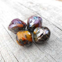 Lampwork Beads, Bicone and Baroque Silvered Glass Beads, Handmade Supplies for Lampwork Jewelry