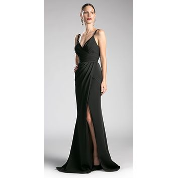 Black Pleated Long Formal Dress Spaghetti Strap with Slit